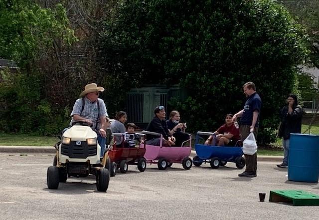 tractor train ride at Parish Festival